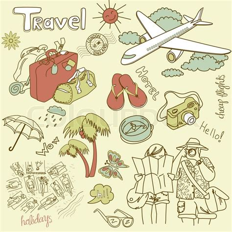 travel doodle free vector travel doodles vector illustration stock vector colourbox