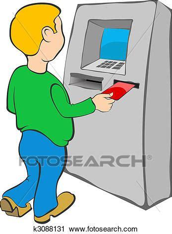 cc bank kredit karte clipart mann setzt kreditkarte in geldautomat