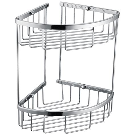Basket Shelves For Bathroom 2 Tier Corner Bathroom Basket Shelf Rail Rack Buy Bathroom Shelves