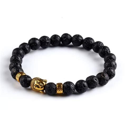 bracelets for jewelry 2016 black lava rock bracelets gold plated buddha