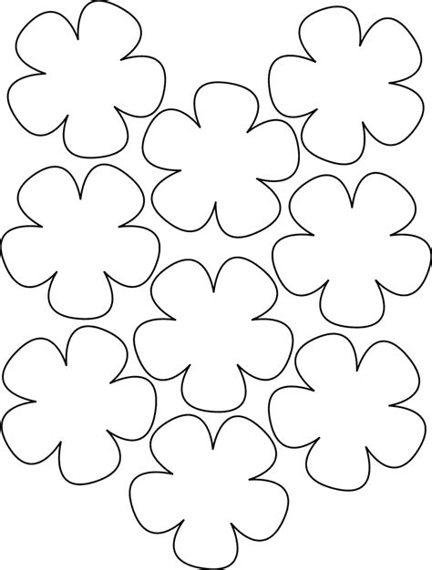paper flower template printable flower templates coloring home