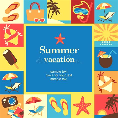 vacation card template vacation frame stock vector image 38956351
