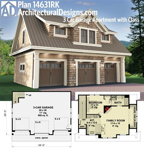 one garage apartment floor plans architectural designs carriage house plan 14631rk gives