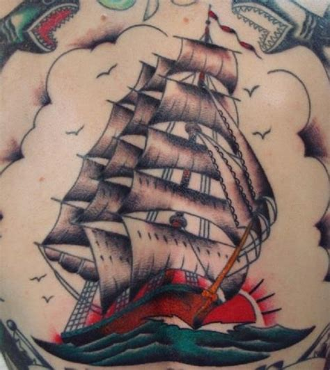 tattoo old school boat traditional clipper ship tattoo old school color boat sail
