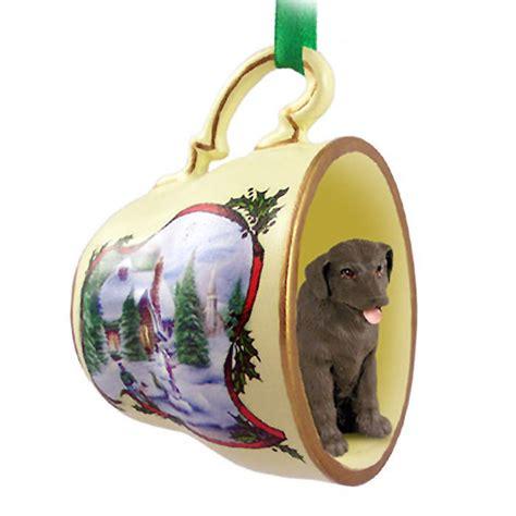 chocolate lab dog christmas holiday teacup ornament figurine