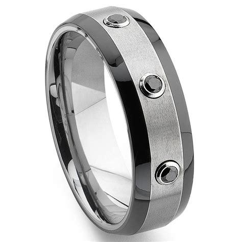 tungsten carbide black diamond  tone wedding band ring
