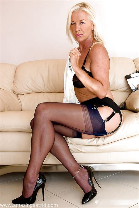Over Blonde Milf Amazing Astrid Modeling Topless In Nylons Pornpics Com