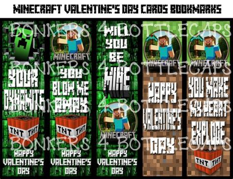 minecraft bookmark template instant printable minecraft inspired valentines