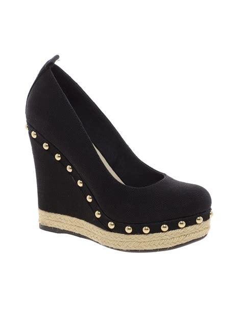aldo decina espadrille wedge shoes in black lyst