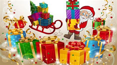 santa claus christmas gifts  children sledge greeting card wallpaper hd