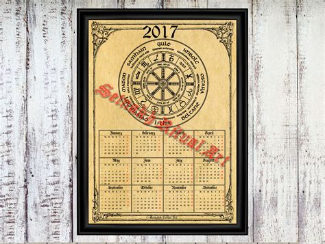 2017 calendar with wheel of the year occult calendar pagan