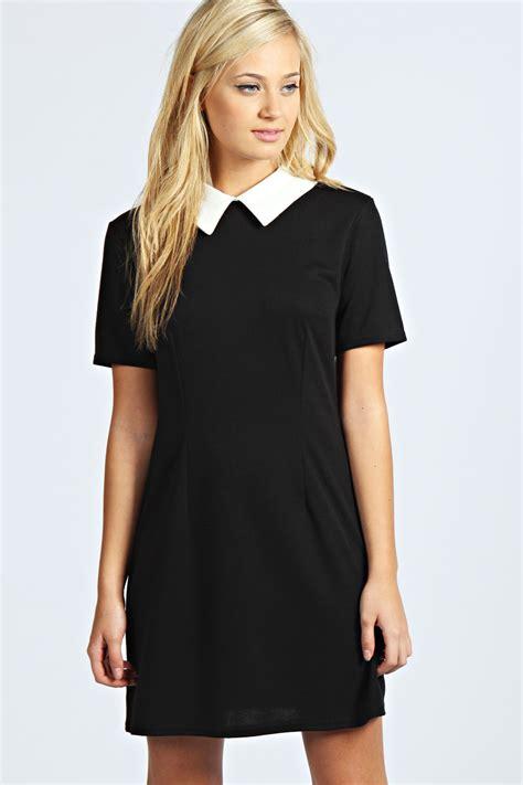 Sleeve Contrast Collar Dress boohoo womens robin sleeve contrast collar