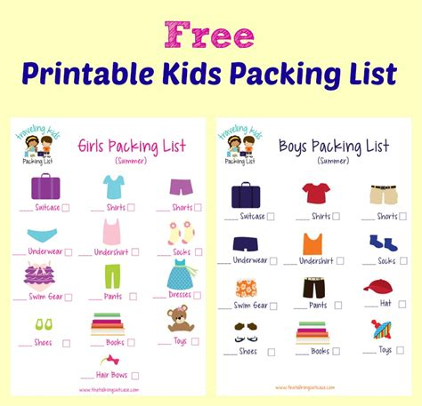 printable toddler packing list kids packing list free printable