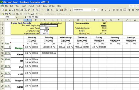labor schedule template employee scheduler schedule hourly employees and manage