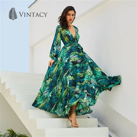 k tropical boho dress vintacy sleeve dress green tropical print vintage