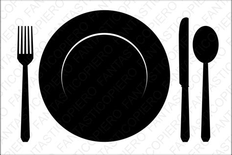 dinner silhouette plate fork knife and spoon svg files fo design bundles