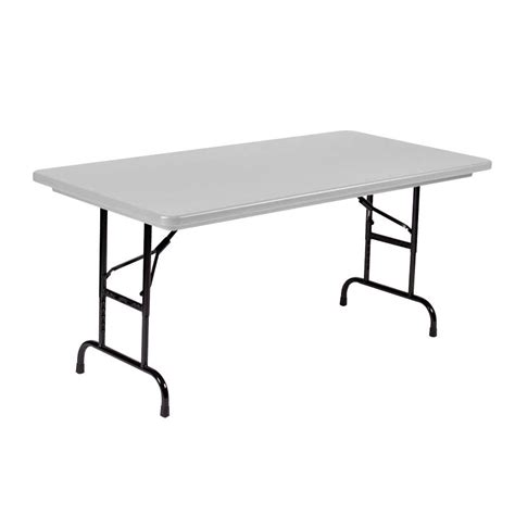 Height Adjustable Folding Table Correll Adjustable Height Folding Table 30 Quot X 60 Quot Plastic Gray Standard Legs R Series Ra3060