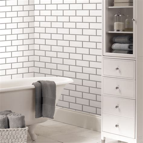 Fine Decor White Ceramica Subway Tile Wallpaper | fine decor white ceramica subway tile wallpaper