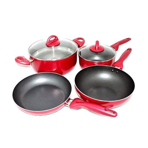 Panci Supra Set jual dcera supra panci set peralatan masak merah 7 pcs harga kualitas terjamin