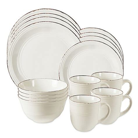 american atelier madelyn 16 piece dinnerware set in white bed bath beyond