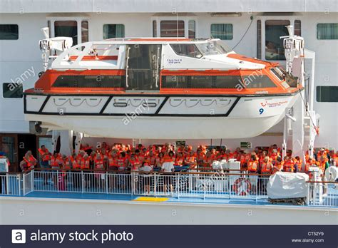 Muster Drill muster drill practice on thomson cruise ship stock photo