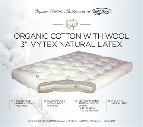 natural latex futon organic cotton with wool 3 quot vytex natural latex the