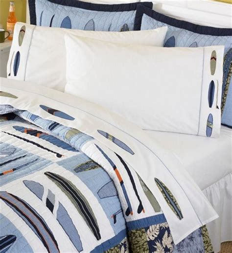 surf comforter embroidered surfboard sheet set