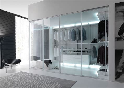Large Wardrobe With Glass Sliding Doors In High Tech Style Glass Door Wardrobe