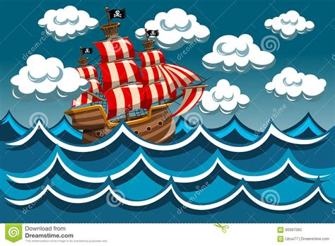 cartoon boat in storm pirate vessel in the storm stock vector image of boat