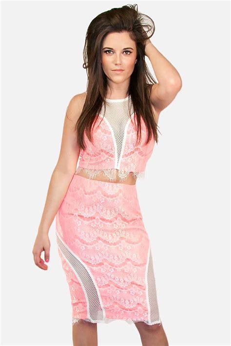 Lace Pink Crop Top Skirt Gaun Malam Dress Baju Pesta Import pink and white lace crop top and skirt skystruk
