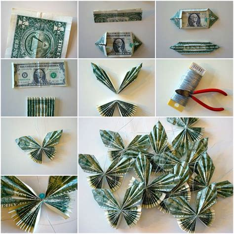 Step By Step Dollar Origami - how to make butterflies with money bills diy tutorial