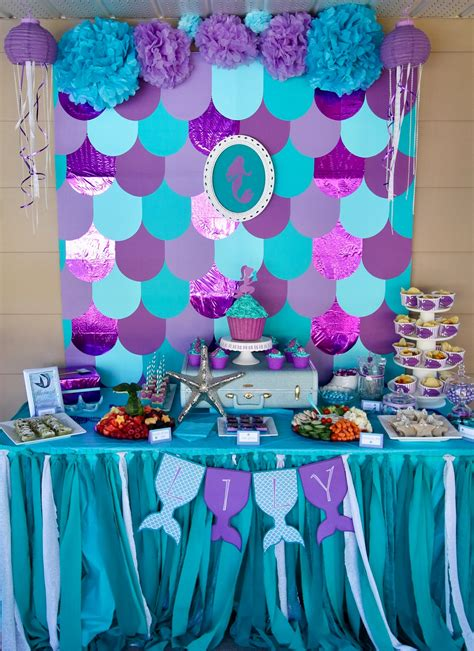 mermaid table decorations the sea birthday mermaid birthday day food