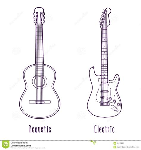 Acoustic Guitar Outline Drawing by Acoustic And Electric Guitar Outline Stock Vector Image