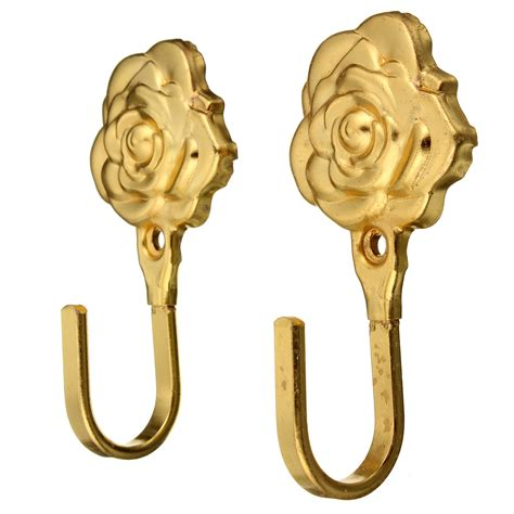 decorative curtain hooks 2pcs rose mordern design metal curtain hooks wall home