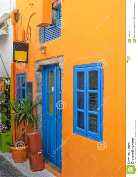 blue house with a blue window colorful house with blue windows in santorini stock image image 18984081