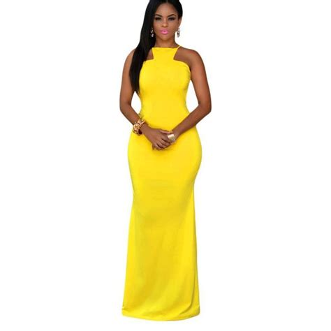 Daring Backless Dresses summer 2015 yellow daring backless maxi dress