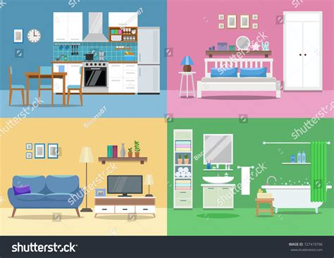 living room bedroom bathroom kitchen house interior kitchen living room bedroom stock vector