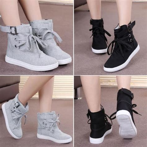 Sepatu Sneakers Korea W105 Grey womens casual sneakers buckle hiking flats lace up