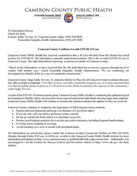 Cameron County Confirms Seventh COVID-19 Case - Cameron County