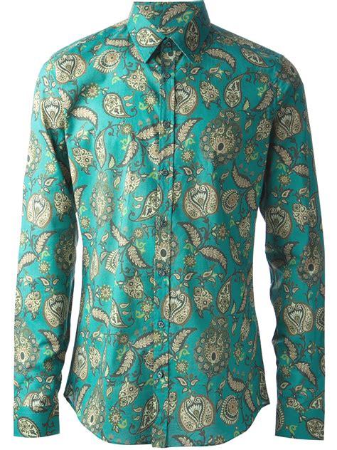 Fashion Shirt Jy773610 Green gucci paisley print shirt in green for lyst