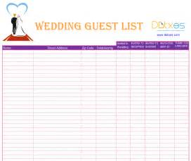 Wedding Guest List Excel Template 6 Best Images Of Wedding Guest List Template Printable