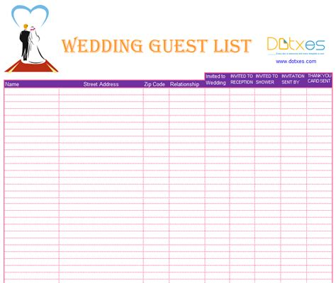 6 best images of wedding guest list template printable