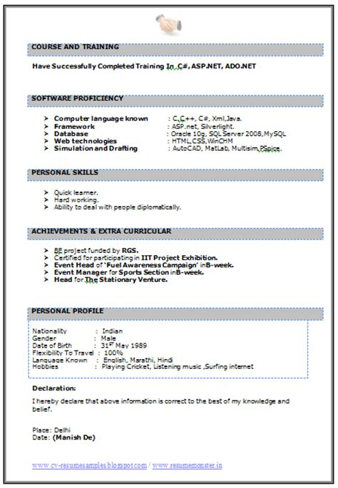 Resume Format For Freshers B Tech Free 10000 Cv And Resume Sles With Free Cv Format For B Tech It