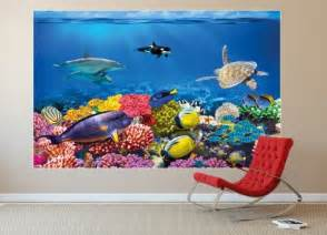 Fish Wall Mural coral reef photo wall paper will turn your wall into an aquarium