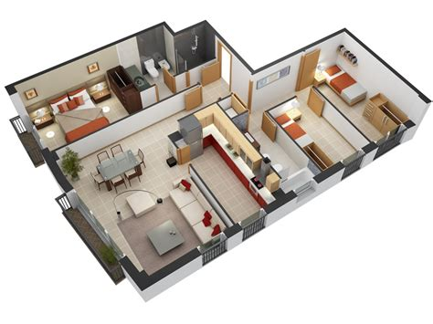 Three Bedroom Floor Plan by 50 Three 3 Bedroom Apartment House Plans Architecture