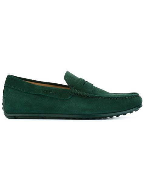 green mens loafers lyst tod s suede loafer shoes in green for