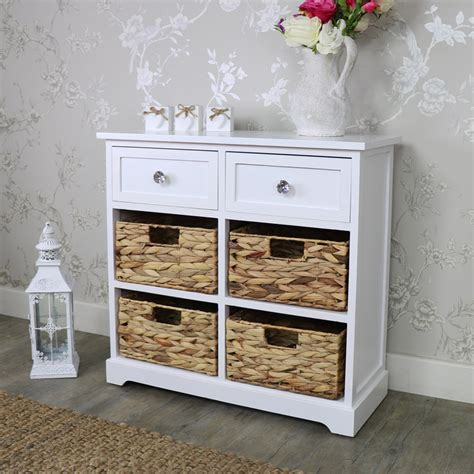 Wicker Storage Drawers Bathroom White Wood Wicker 6 Drawer Basket Chest Of Drawers Bedroom Bathroom Storage Ebay