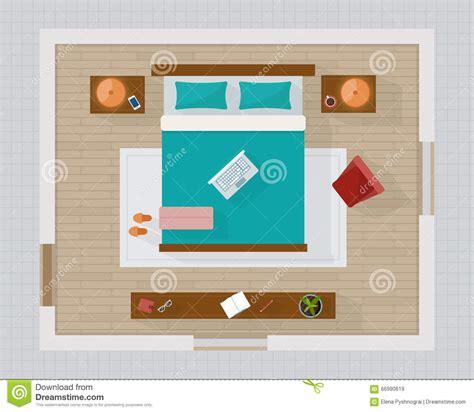 Bedroom Side View bedroom with furniture overhead top view stock vector
