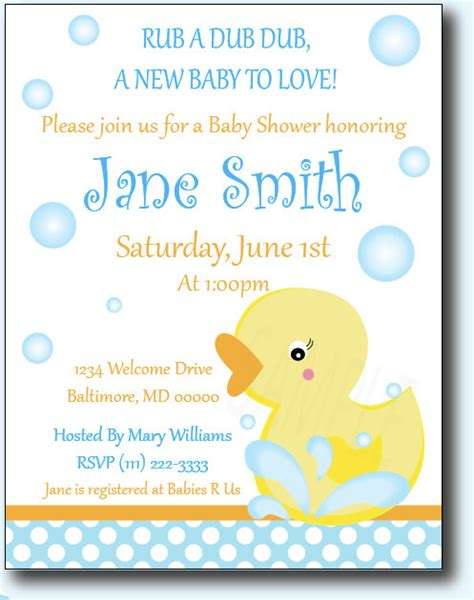 rubber ducky baby shower invitations wblqual com