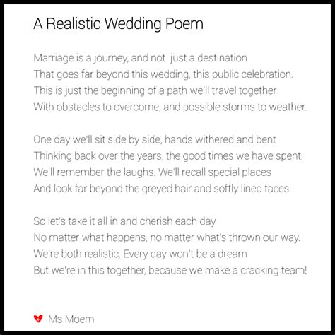 Wedding Advice Poem by A Realistic Wedding Poem Ms Moem Poems Etc
